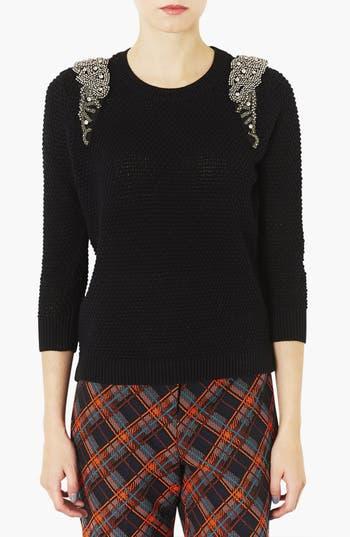 Main Image - Topshop Embellished Shoulder Open Knit Sweater