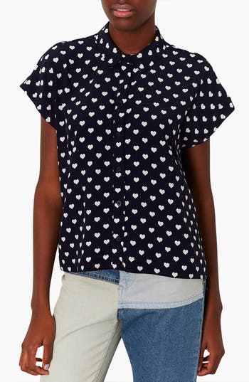Alternate Image 1 Selected - Topshop Heart Print Shirt