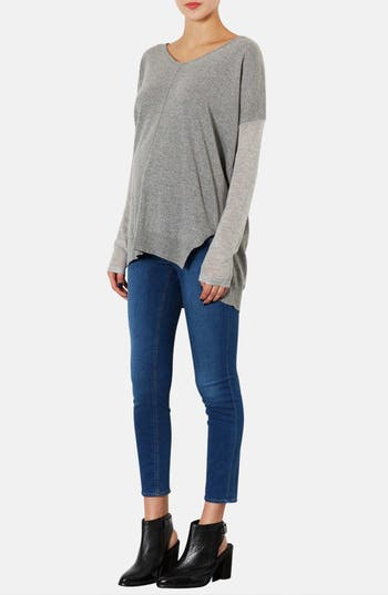 Alternate Image 3  - Topshop Moto 'Leigh' Skinny Maternity Jeans (Mid Stone)