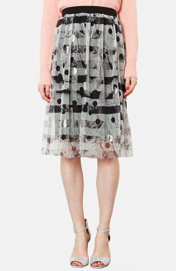 Main Image - Topshop Metallic Pattern Tulle Midi Skirt