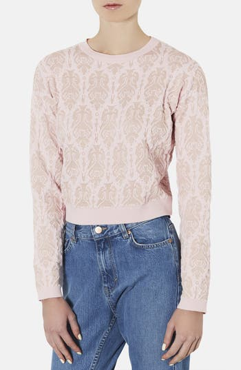 Main Image - Topshop '3D Baroque' Metallic Quilted Sweater