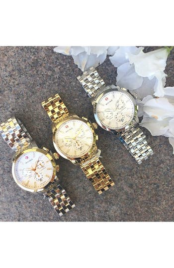 Alternate Image 4  - MICHELE 'Uptown' Diamond Dial Chronograph Watch Case & Bracelet, 39mm