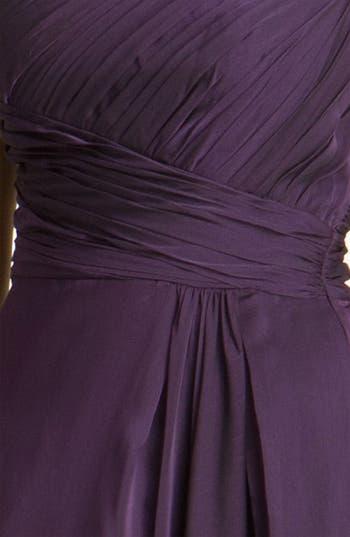 Alternate Image 3  - ML Monique Lhuillier Bridesmaids Pleated One Shoulder Chiffon Gown (Nordstrom Exclusive)
