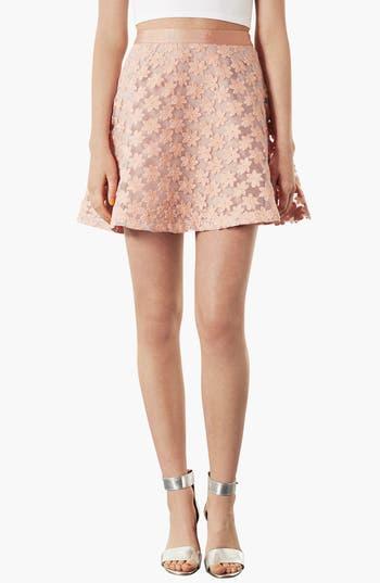 Main Image - Topshop Embroidered Flower Skater Skirt