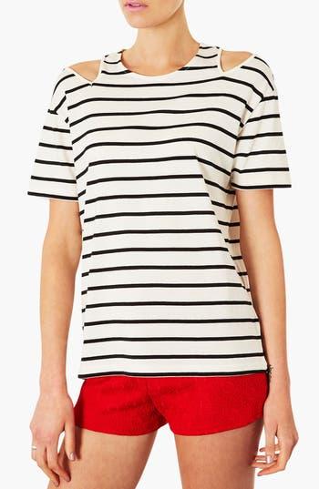 Main Image - Topshop Split Shoulder Stripe Tee