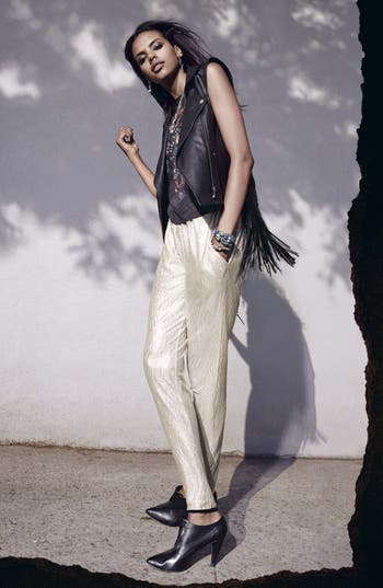 Alternate Image 4  - ASTR Fringed Back Faux Leather Moto Vest