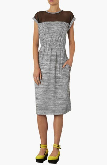 Alternate Image 1 Selected - Topshop Mesh Yoke Midi Dress