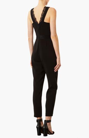 Alternate Image 2  - Topshop Lace Trim Jumpsuit