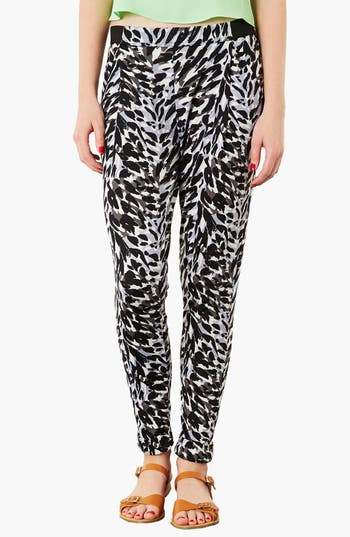Main Image - Topshop Print Tapered Trousers