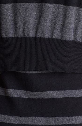 Alternate Image 3  - Laundry by Shelli Segal Crop Overlay Stripe Sweater Dress