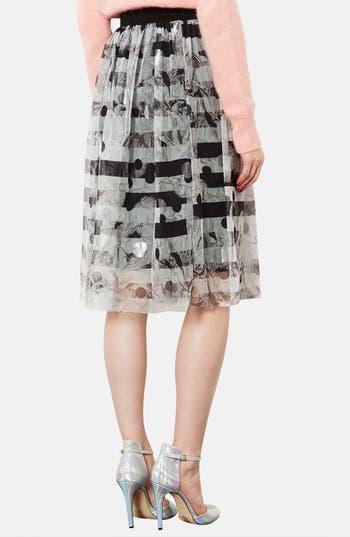 Alternate Image 2  - Topshop Metallic Pattern Tulle Midi Skirt