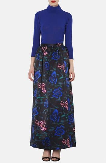 Alternate Image 4  - Topshop Rose Pattern Satin Maxi Skirt
