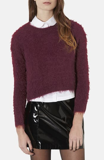 Main Image - Topshop Textured Crewneck Sweater (Petite)