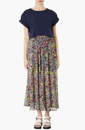 Alternate Image 3  - Topshop 'Dot Floral' Print Maxi Skirt
