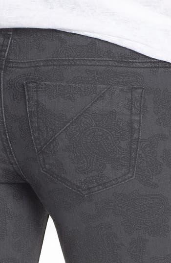 Alternate Image 3  - Fire Paisley Print Skinny Jeans (Charcoal) (Juniors)