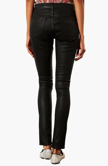 Alternate Image 2  - Topshop Moto 'Leigh' Coated Skinny Jeans (Black) (Short)
