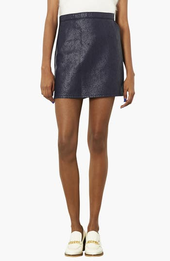 Alternate Image 1 Selected - Topshop Moto Faux Crocodile Leather Front A-Line Skirt
