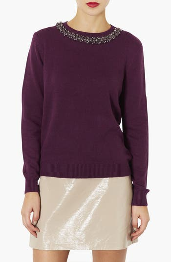 Main Image - Topshop Embellished Neck Sweater