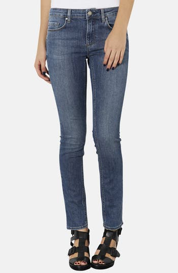 Alternate Image 1 Selected - Topshop Moto 'Baxter' Skinny Jeans (Mid Stone) (Regular, Short & Long)