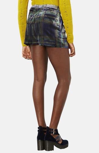 Alternate Image 2  - Topshop Checkered Velvet Shorts