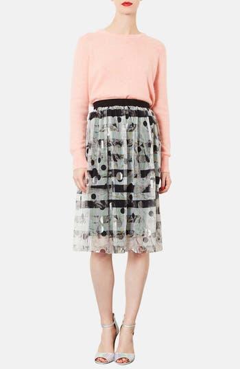 Alternate Image 4  - Topshop Metallic Pattern Tulle Midi Skirt