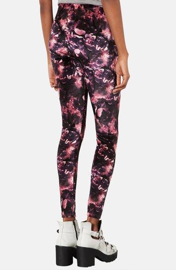 Alternate Image 2  - Topshop Floral Velvet Leggings