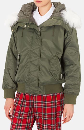 Main Image - Topshop Hooded Bomber Jacket with Faux Fur Trim