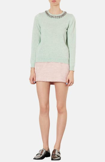 Alternate Image 4  - Topshop Embellished Neckline Sweater