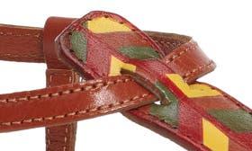 Saddle Chevron Print Leather swatch image