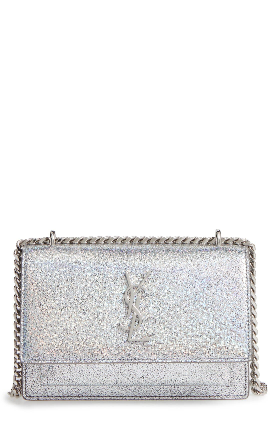 SAINT LAURENT Mini Sunset Crackle Metallic Leather Crossbody