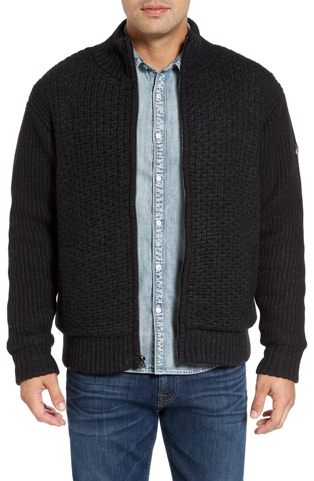 Schott NYC Zip Front Faux Sherpa Lined Sweater Jac