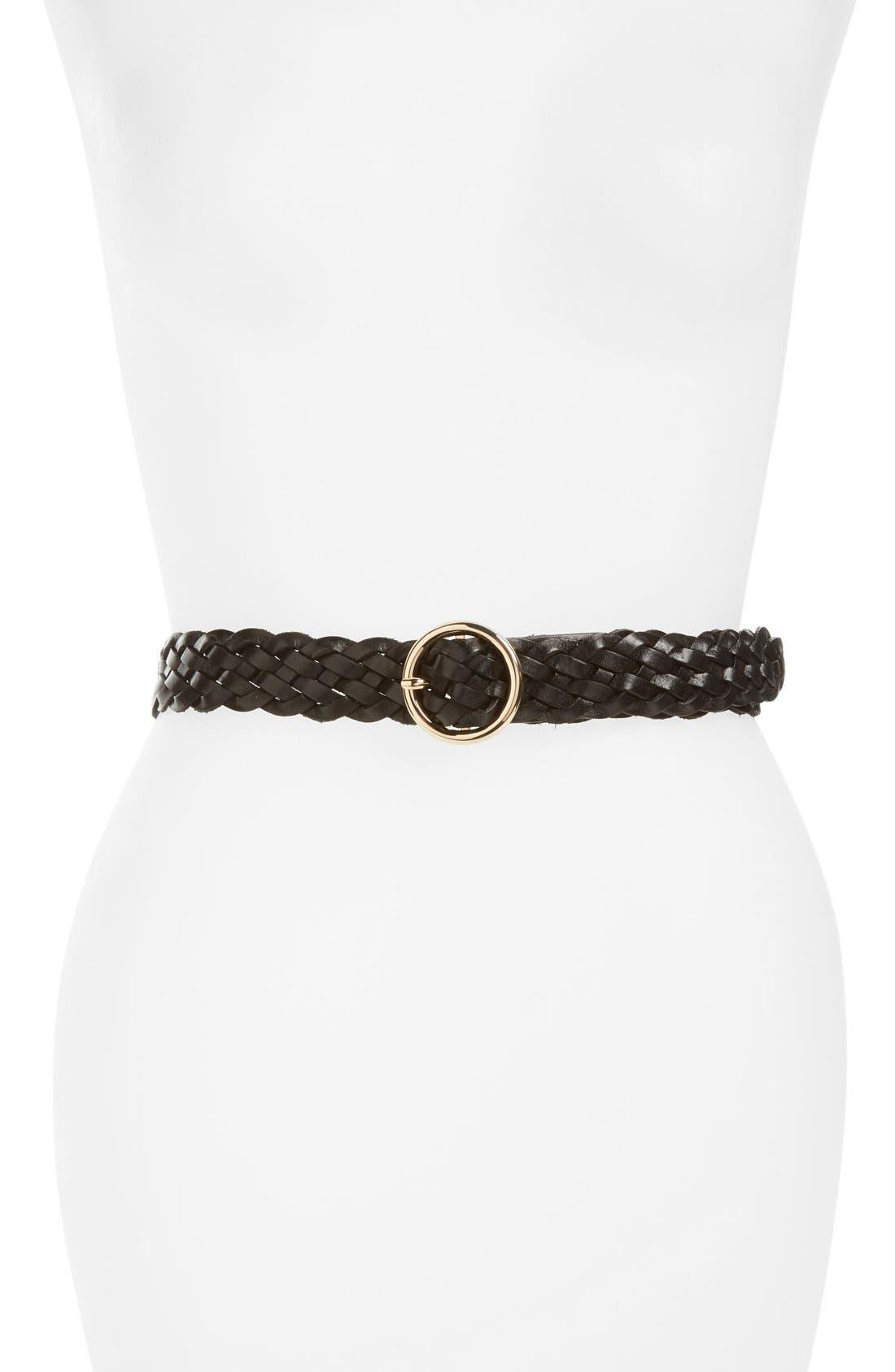 Halogen® Round Buckle Braided Leather Belt