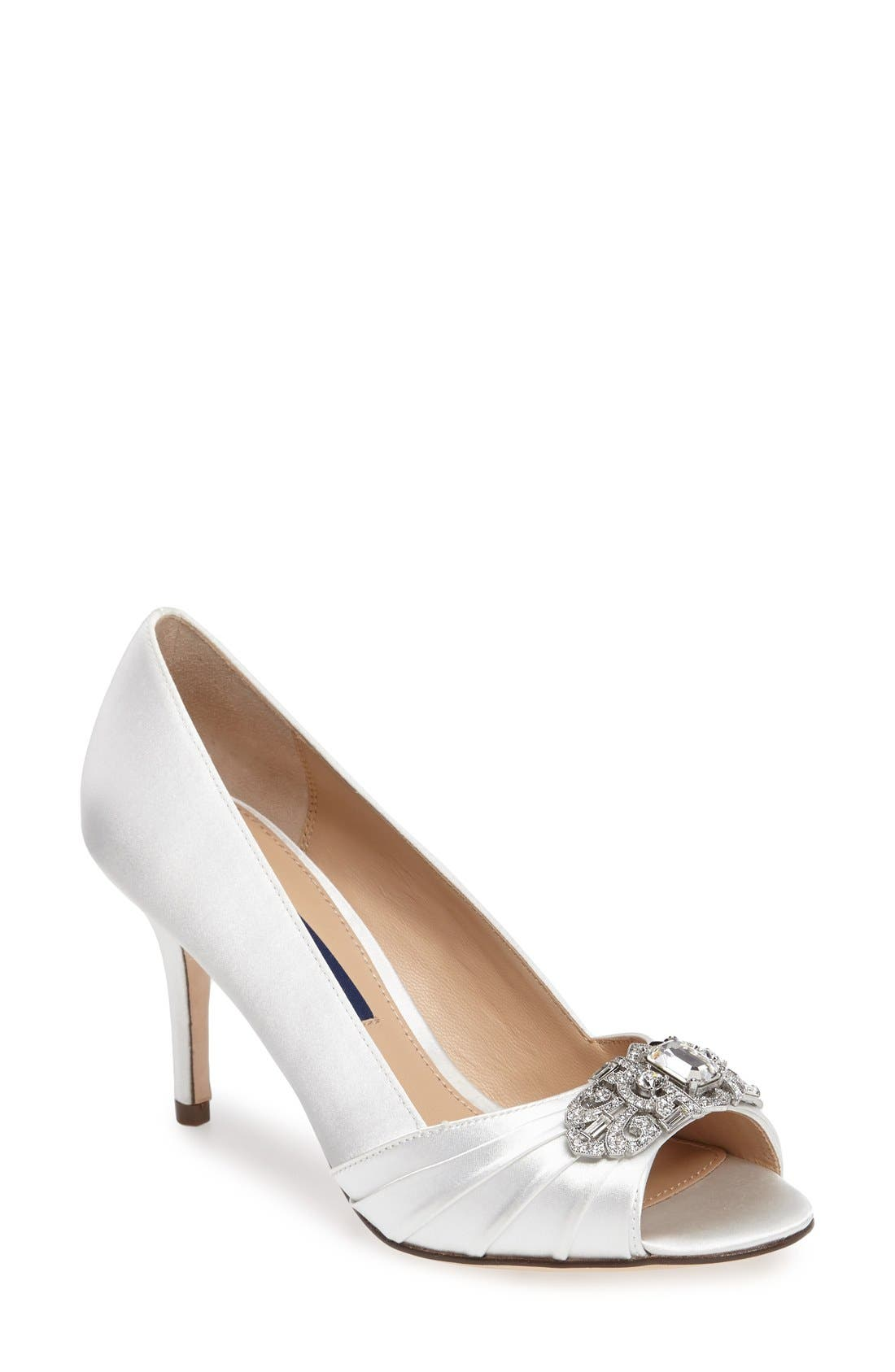 Nina 'Verity' Swarovski Peep Toe Pump (Women)