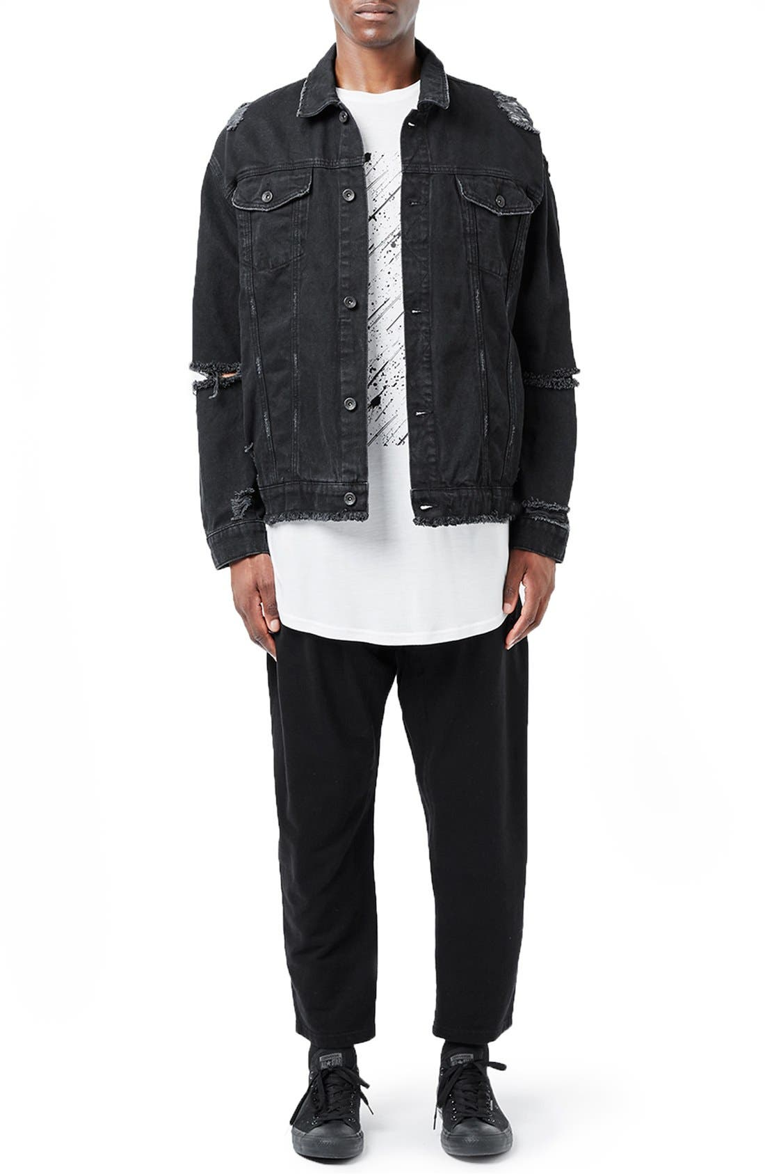 Alternate Image 2  - Topman AAA Collection Ripped Denim Jacket