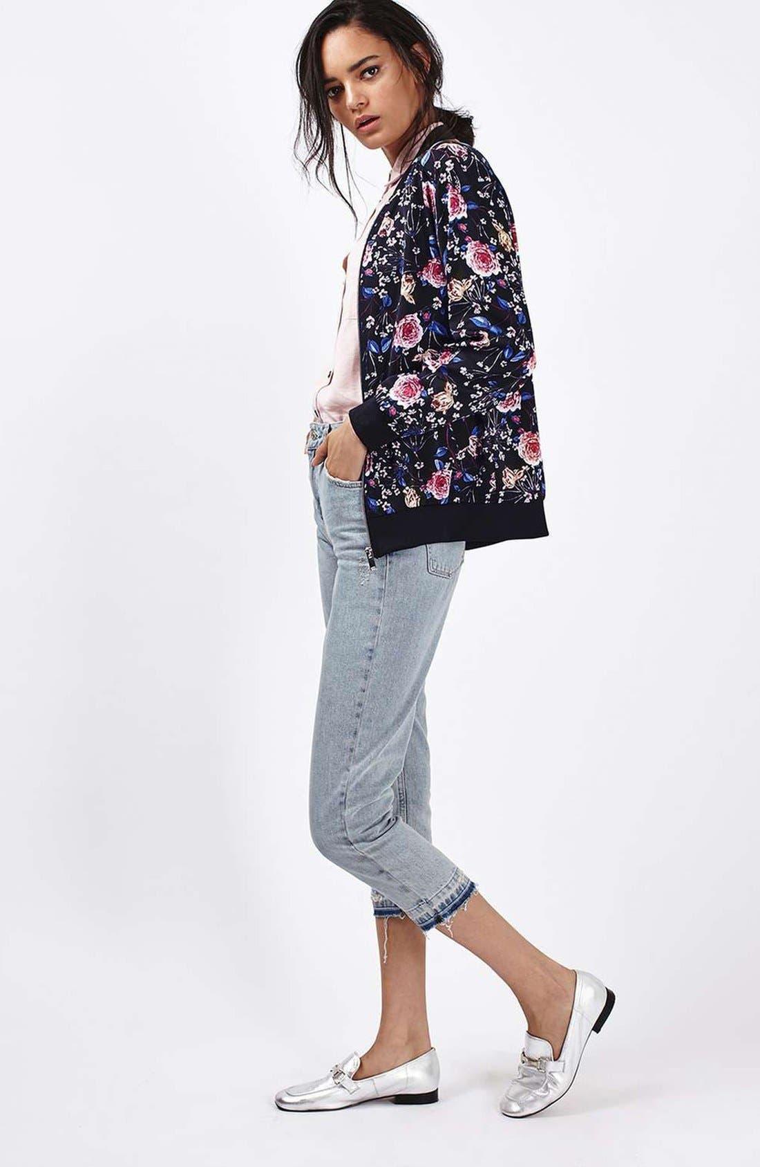 Alternate Image 2  - Topshop Floral Print Bomber Jacket