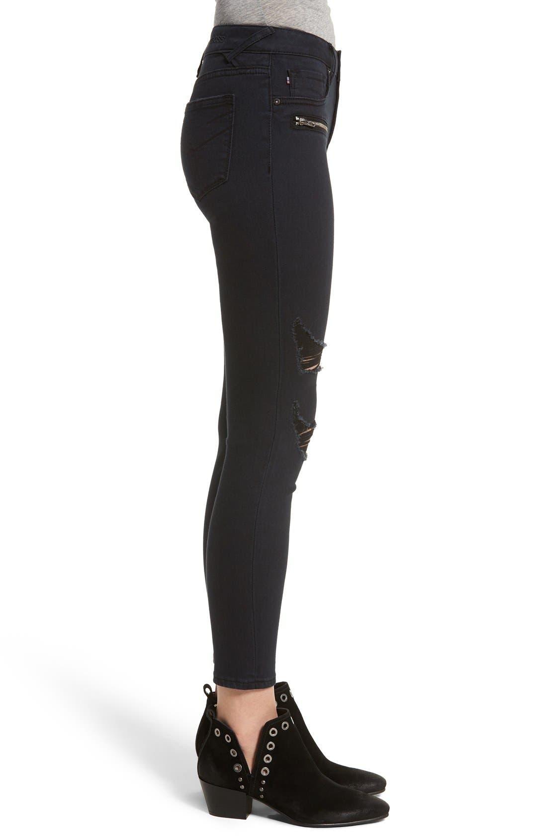 Alternate Image 3  - Vigoss Distressed Zip Skinny Jeans