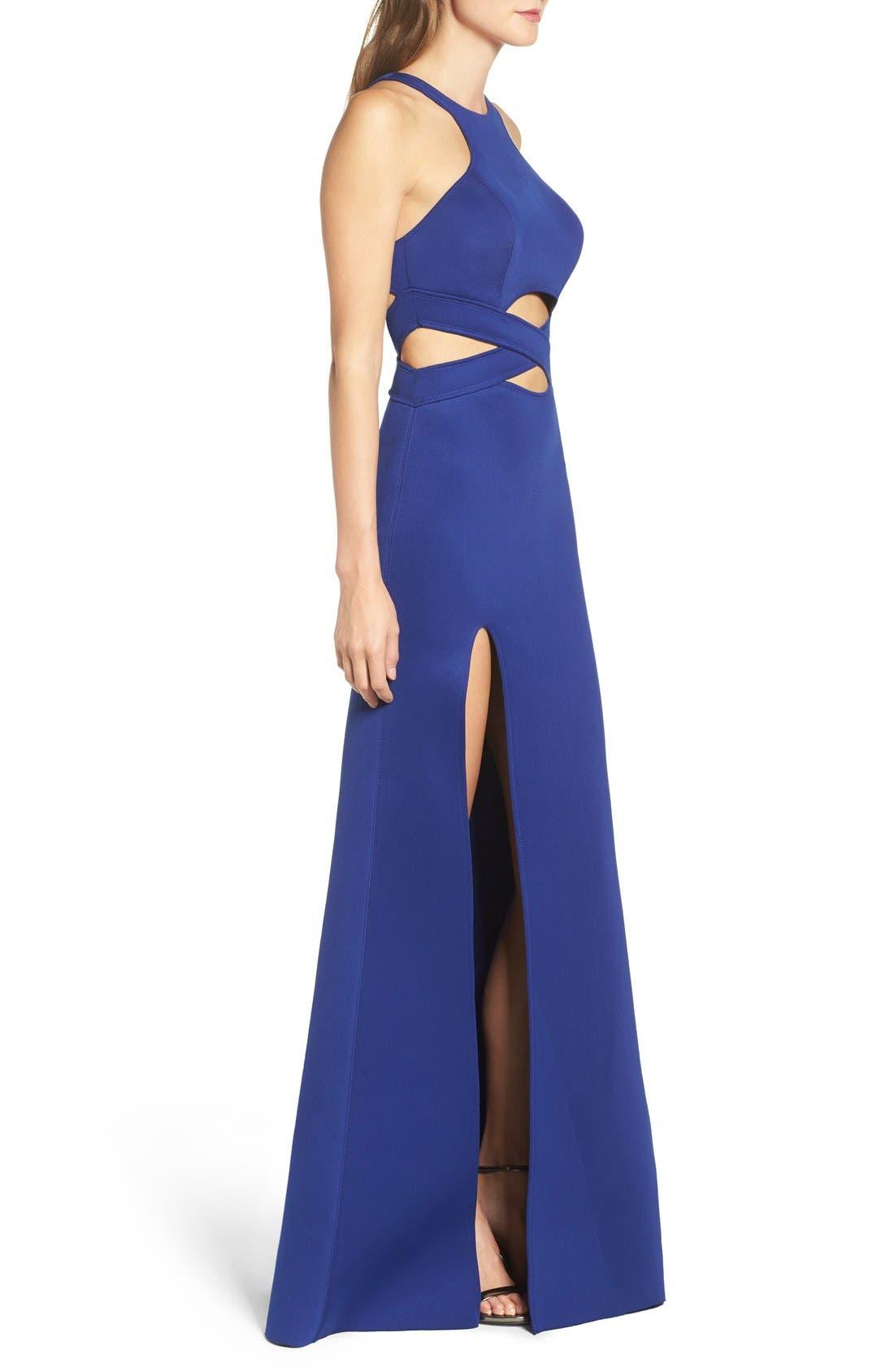 Alternate Image 3  - La Femme Cutout Scuba Gown