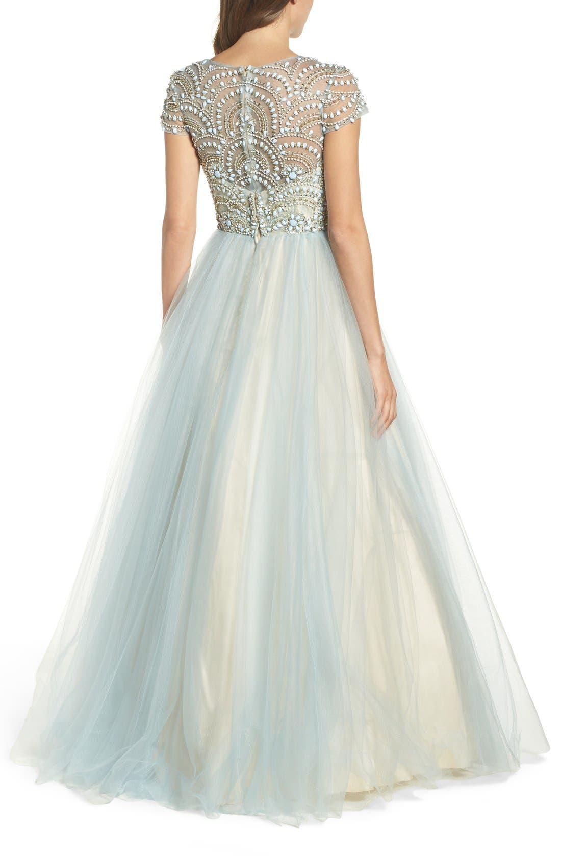Alternate Image 2  - Mac Duggal Beaded Bodice Tulle Ballgown