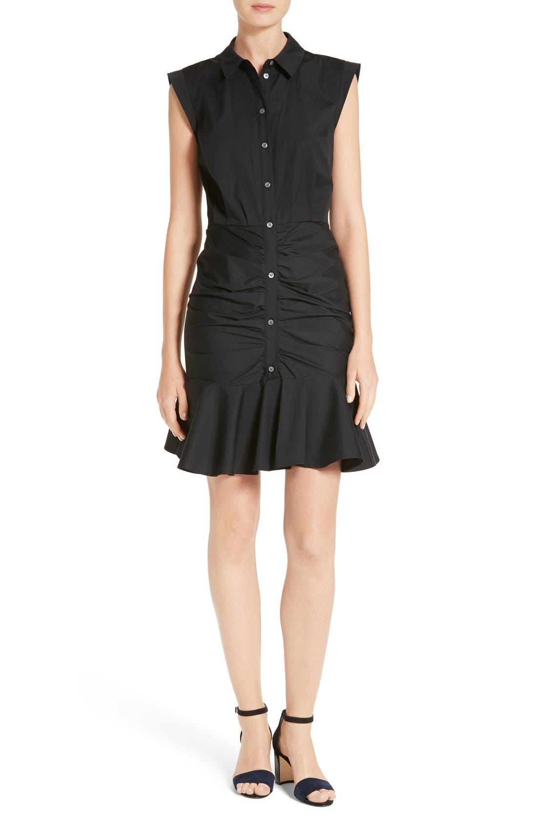 Veronica Beard Flare Hem Ruched Shirtdress