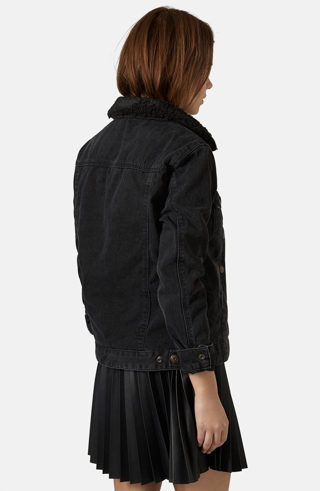 Alternate Image 2  - Topshop Denim Jacket with Faux Shearling Collar