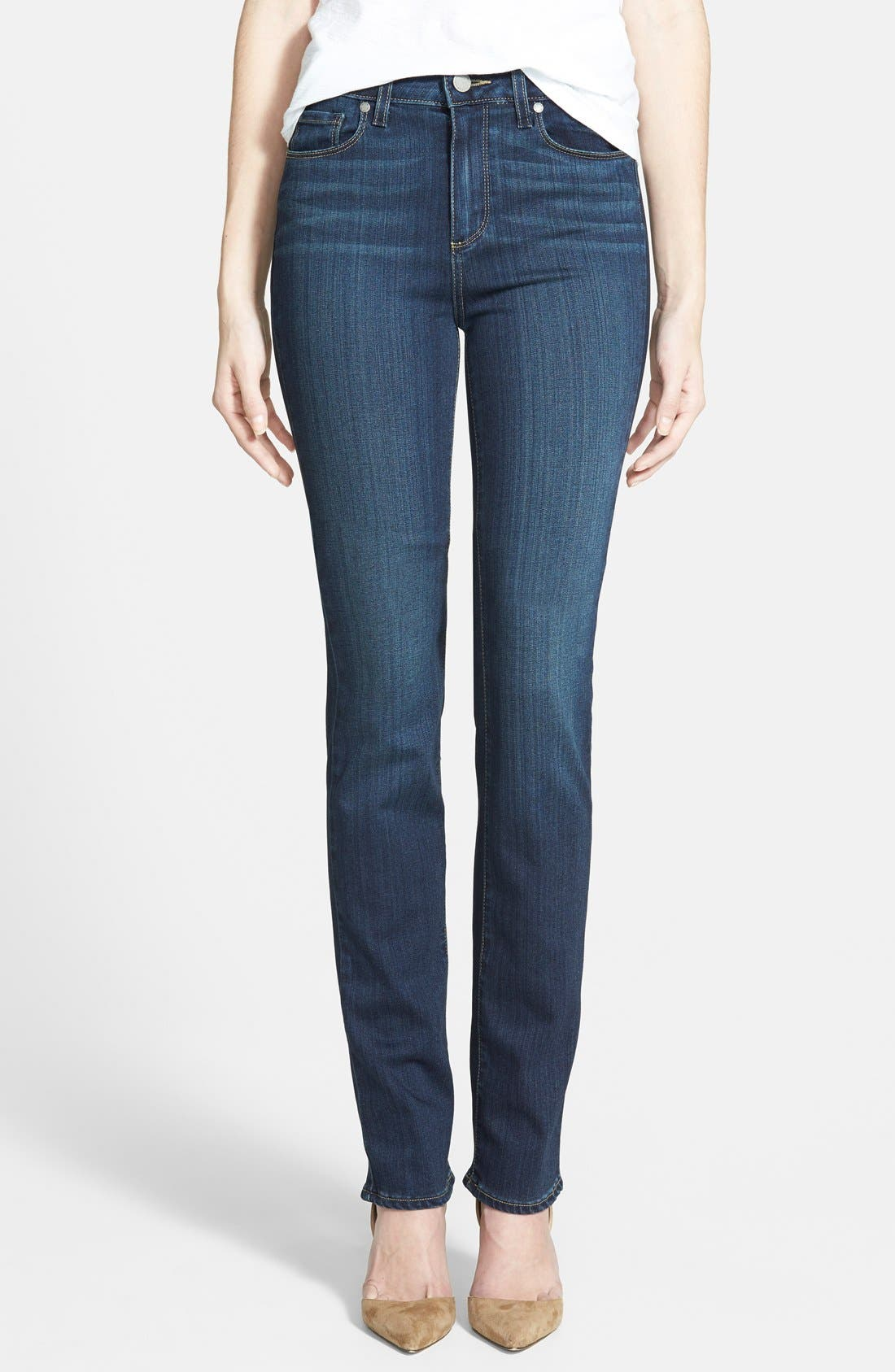 PAIGE 'Transcend - Hoxton' High Rise Straight Leg Jeans (Nottingham Blue)