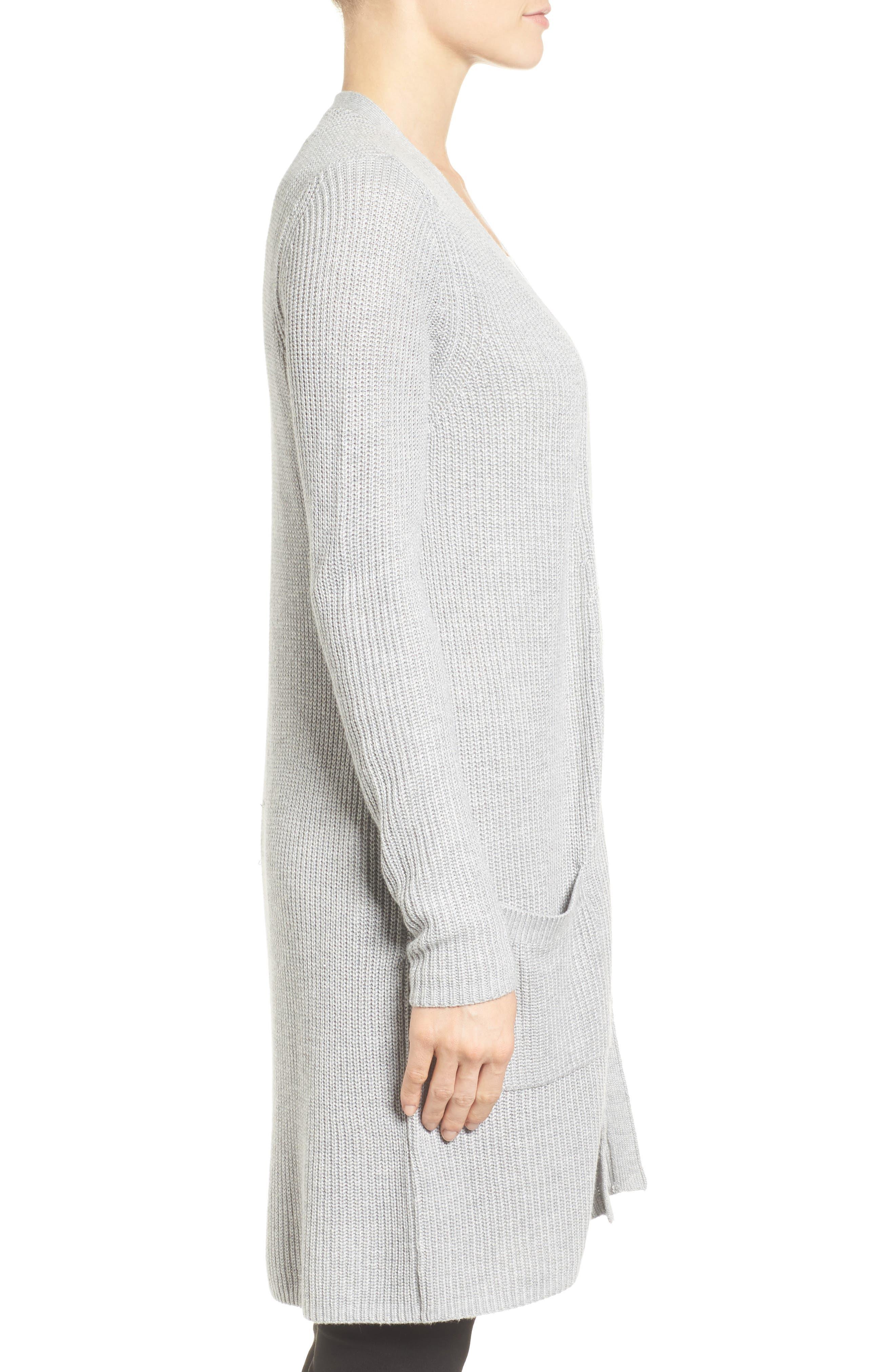Alternate Image 3  - Halogen® Long Ribbed Cardigan (Regular & Petite)