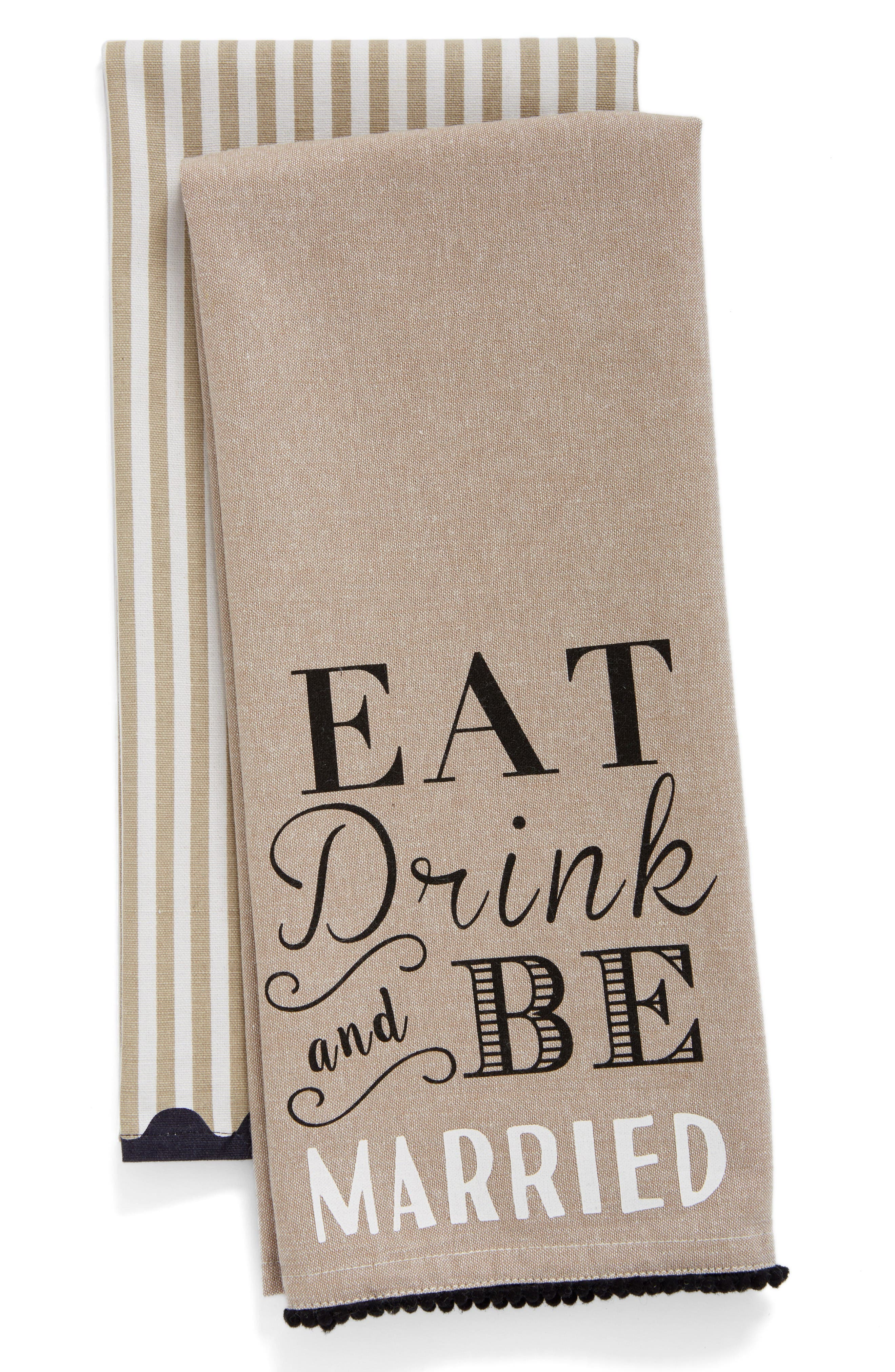 Alternate Image 1 Selected - Levtex Eat Drink & Be Married Set of 2 Dish Towels