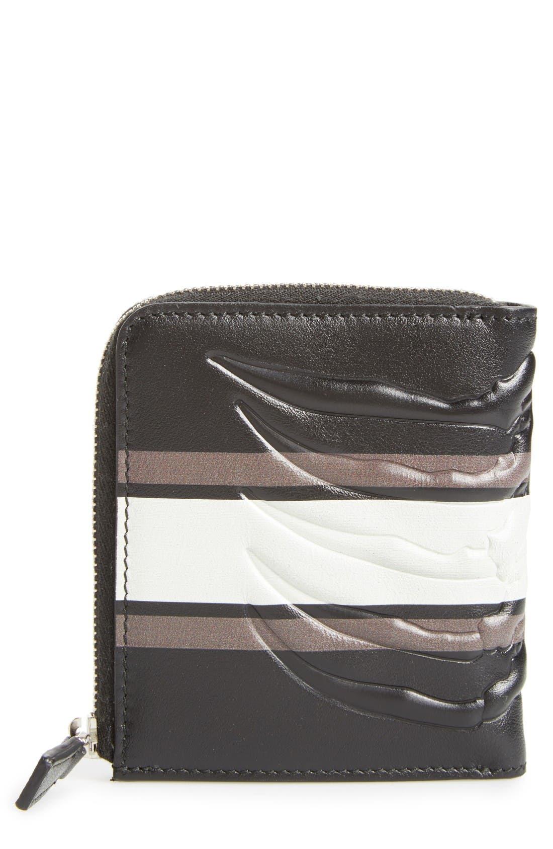 Alexander McQueen Leather Half Zip Wallet