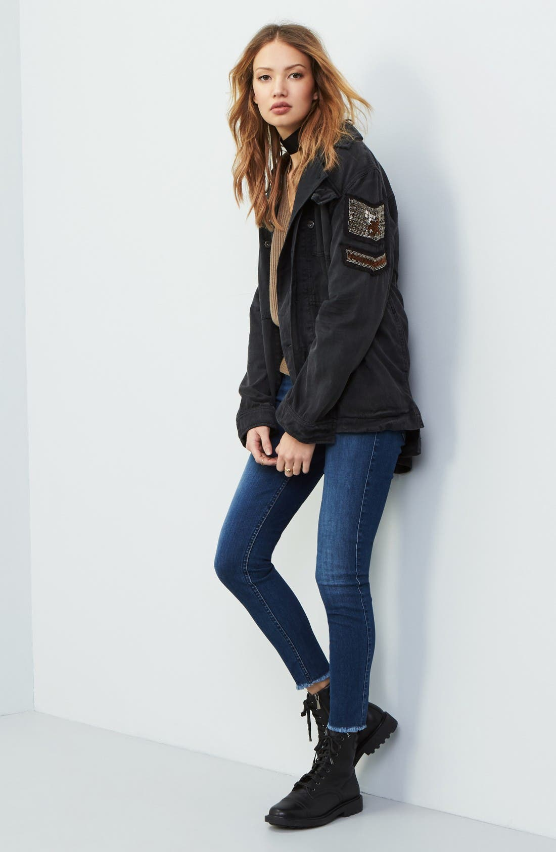Free People Shirt Jacket, Pullover & 7 For All Mankind® Jeans Outfit with Accessories