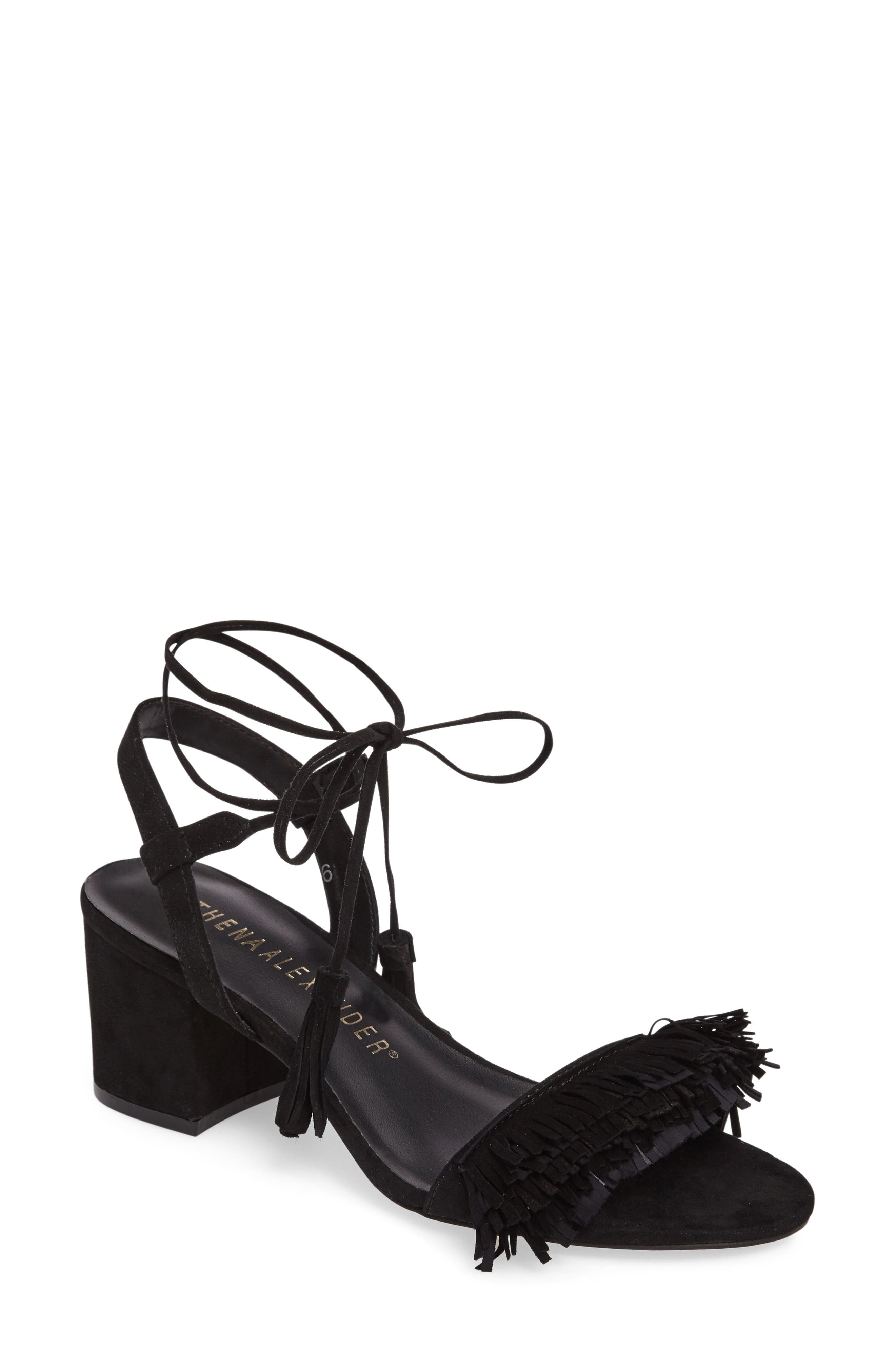 Athena Alexander Fringed Ankle Wrap Sandal (Women)
