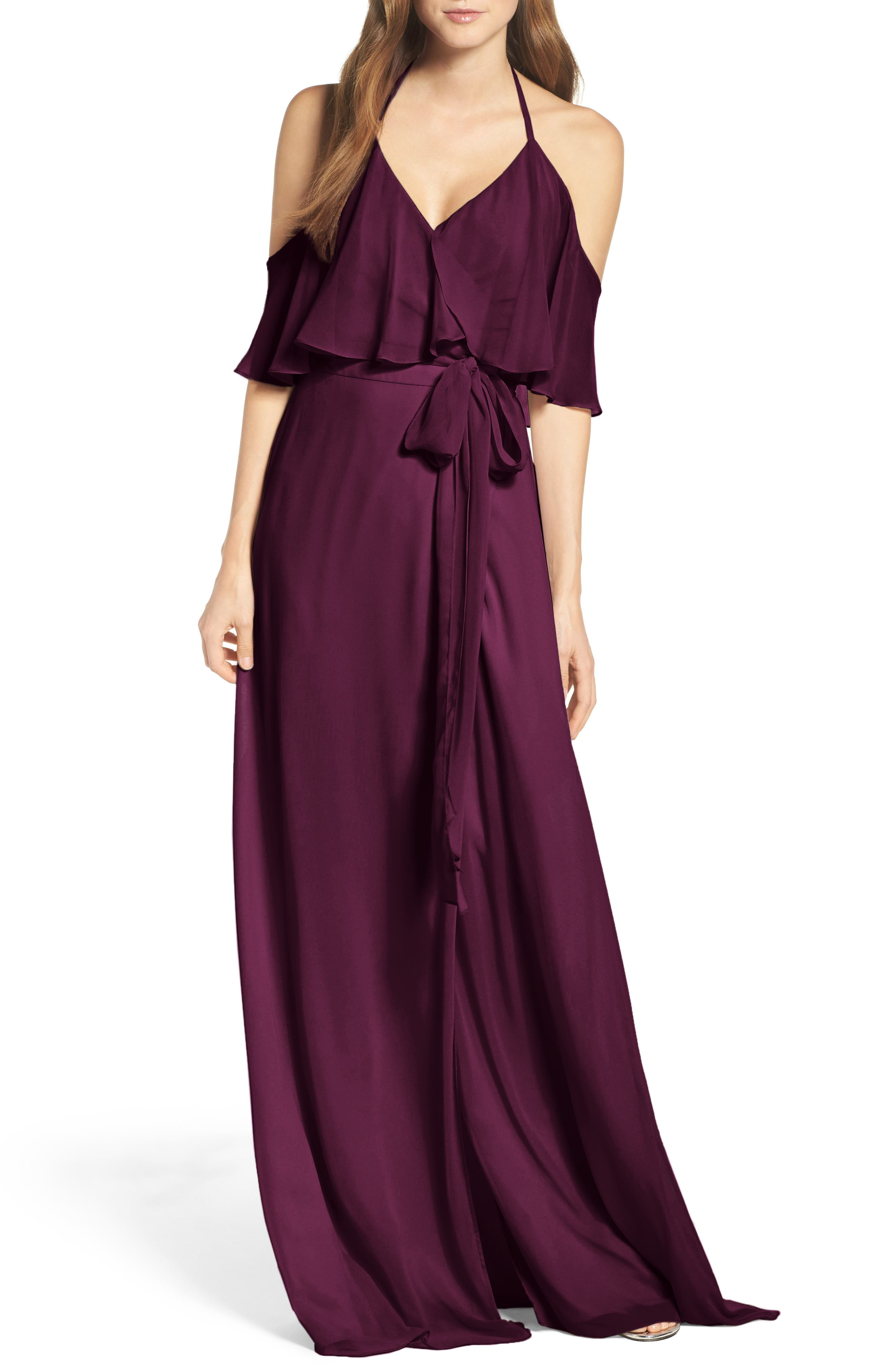 Alternate Image 1 Selected - Ceremony by Joanna August Cold Shoulder Tie Waist Halter Gown