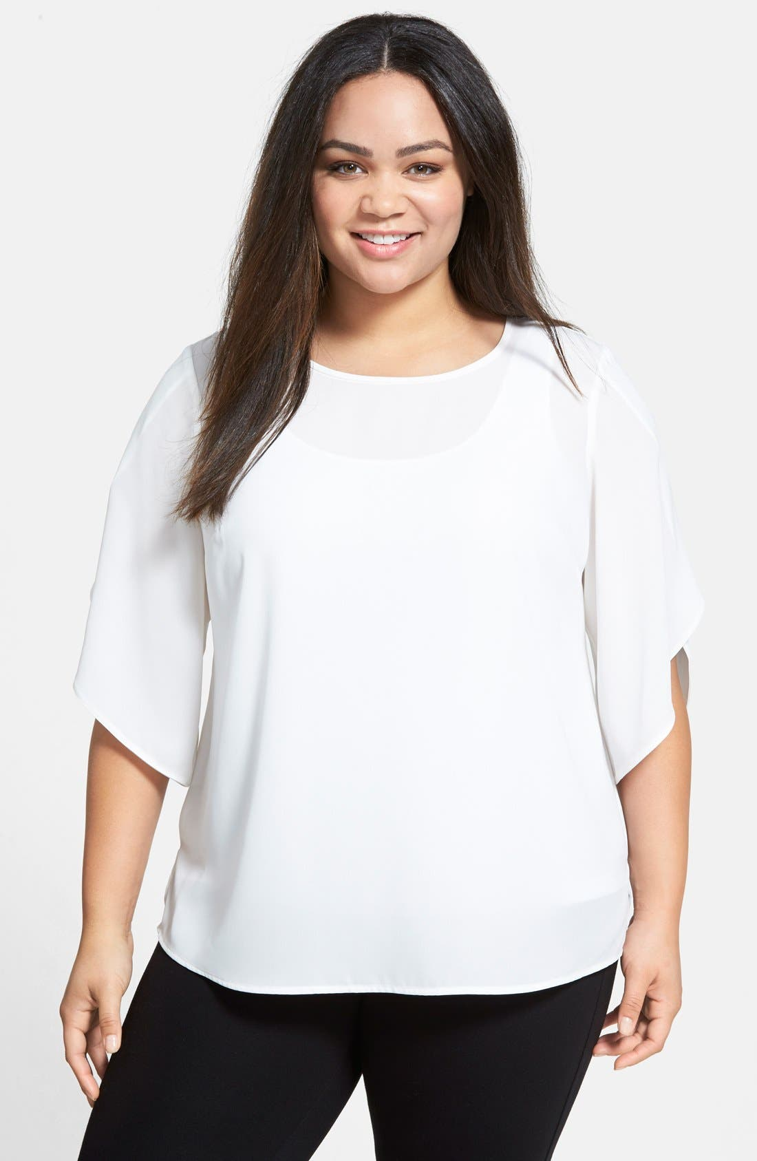 Alternate Image 1 Selected - Vince Camuto Tulip Sleeve Blouse (Plus Size)