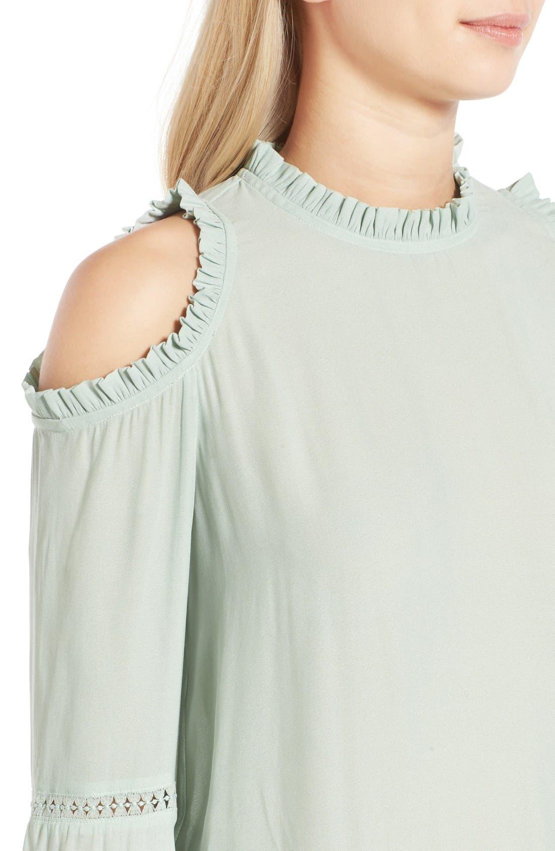 Alternate Image 4  - Chelsea28 Ruffle Edge Cold Shoulder Blouse