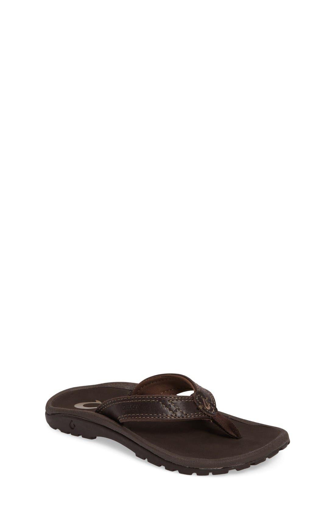 OluKai Nui Leather Flip Flop (Little Kid & Big Kid)